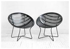 Mid Century Black Solair Basket Chairs by Hindsvik, $185.00