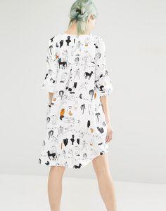 Image 2 ofMonki Printed Oversized Shirt Dress