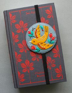 Embroidered felt bookmark