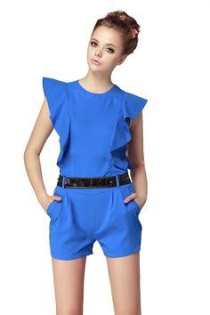 Blue Sleeveless Ruffles Belt Jumpsuits - Sheinside.com #Sheinside