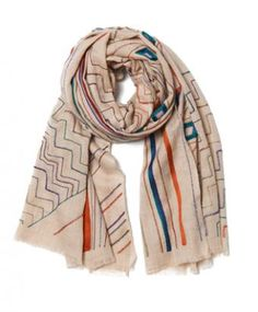 Cream Tribal Cashmere Scarf