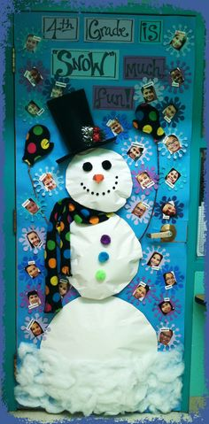 """___ Grade is Snow Fun!"" Cute snowman design and I like the idea of student photos inside the snowflakes."