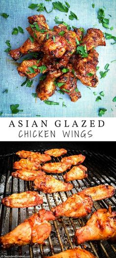 Awesome asian glazed chicken wings on the grill Asian Chicken Wings, Glazed Chicken, Smoked Chicken, Chicken Tender Recipes, Chicken Wing Recipes, Grilled Short Ribs, Grilled Chicken Pasta, Smoked Wings, Grilled Wings