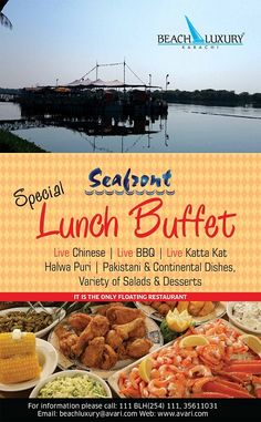 Our popular Seafront Restaurant (the only #floating #restaurant in #Karachi) now plays venue to @Beach_Luxury #Hotel's daily buffet for your casual or business lunches (Mondays to Saturdays). Till March 2015, enjoy the beautiful winter days by the edge of the water, under the shade of the traditional Shamiana or under the strong winter sun...whatever your preference, our new & improved selection will not disappoint you. Please visit us at http://avari.com/property/beach-luxury)
