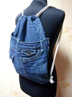 Trend 2019 Denim hipster unisex backpack from recycled jeans for school and multi-pocket travel with Denim Tote Bags, Denim Handbags, Denim Purse, Blue Denim Jeans, Denim Jean Purses, Jean Crafts, Denim Crafts, Jean Backpack, Drawstring Backpack