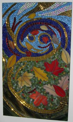 Colorful Stained Glass Mosaic Autumn by GlassArtsStudio