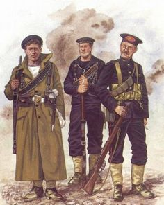 Royal Naval Rating in long coat, the others are Royal Marines, WWI Military Art, Military History, World War One, First World, Commonwealth, Navy Uniforms, Military Uniforms, British Army Uniform, British Uniforms