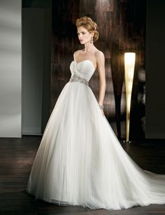 A-line empire waist tulle wedding dress