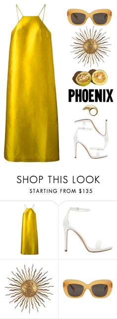 """Untitled #4720"" by lbenigni ❤ liked on Polyvore featuring Erika Cavallini Semi-Couture, Zara, La Cuisine, Visual Comfort, CÉLINE, PopsOfYellow and NYFWYellow"