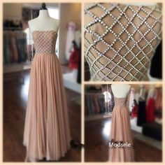 2017 Prom Dress Evening Dress, Strapless Long Peach Prom Dress with White Beads