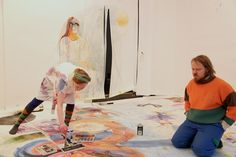 Hanna Saarikoski/ watercolor installation + performance/ Gallery Huuto 2014
