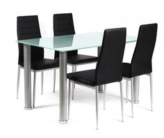 Tatum Frosted Glass Dining Table & 4 Black Faux Leather Chairs