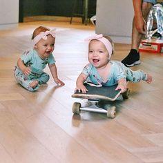 Skateboard fun! Woohoo go Taytum! Haha Oakley is having fun watching for sure! #sisters #twins #twinsofinstagram #babylife #babygirl #babyootd