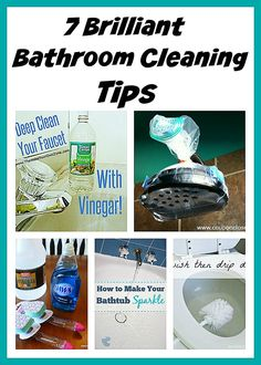 7 Brilliant Bathroom Cleaning Tips: Here are several bathroom cleaning tips that will help make cleaning easier and faster. Cleaning Faucets, Bathroom Cleaning Hacks, Household Cleaning Tips, Cleaning Recipes, House Cleaning Tips, Deep Cleaning, Spring Cleaning, Cleaning Diy, Kitchen Cleaning