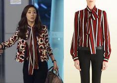 "Choi Ji-Woo 최지우 in ""Temptation"" Episode 6.  Gucci Stripe Silk Blouse with Scarf #Kdrama #Temptation 유혹 #ChoiJiWoo"