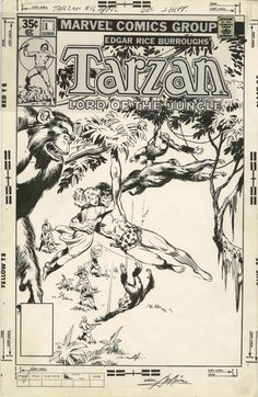 Tarzan #11 (1978) Classic cover by John Buscema and Neal Adams Comic Art
