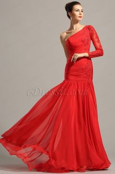 Stylish Red One Sleeve Lace Applique Evening Gown  (02153902) #edressit #dress #fashion #red_dress #prom