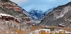 'Ouray Snowy Autumn Panorama' - First snow in Ouray! Oct. 2011. Ouray, Colorado, USA. -- Photo © copyright by Jack Brauer, Mountain Photographer