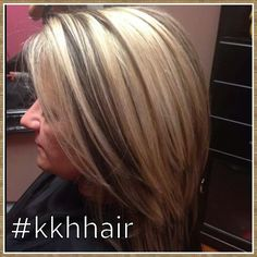 Blonde with chocolate brown chunky lowlights.   Blonde and brown   highlight lowlight.  Chunky color.  Dimensional highlight lowlight.  Funky color  #kkhhair