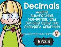 Add, Subtract, Multiply, and Divide Decimals Math Tasks and Exit Tickets - Use this resource to help your 6th grade classroom or home school students better understand adding, subtracting, multiplying, and dividing decimals. You get 5 math tasks for cooperative learning, 5 exit tickets for individual assessment, and I can statements for clear learning objectives. These are great for review, test prep, small or whole group instruction, extra practice, and more. {sixth graders}