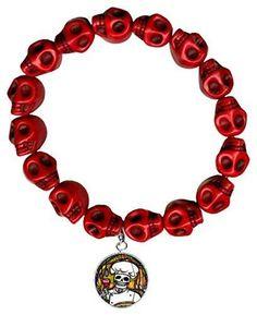 Dead Head Chef Charm Red Howlite Stone Skulls Stretch Bracelet