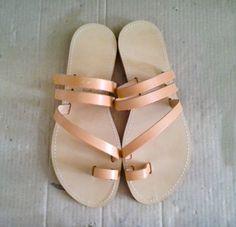 Sandals  Genuine Greek Style Leather Sandals in Tan by Sandelles, €28.00