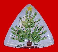 handprints Christmas tree plate- grandma would treasure this forever (hint hint)