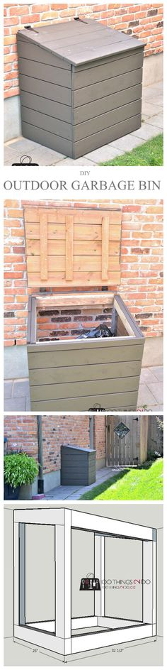 DIY outdoor garbage bin, outdoor garbage shed, outdoor garbage can enclosure                                                                                                                                                     More
