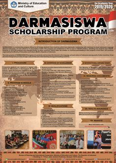Darmasiswa Scholarship 2019-2020 is now opened!  Darmasiswa is a scholarship program offered to all foreign students from countries which have diplomatic relationship with Indonesia to study Bahasa, art and culture. This program is organized by the Ministry of Education and Culture (MoEC) in cooperation with the Ministry of Foreign Affairs (MoFA). The scholarship will be awarded to 650 applicants from 171 countries and the Kuota for Austria is 2 (two) applicants.... Ministry Of Education, Austria, Countries, Students, Medical, Study, Relationship, Culture, Art