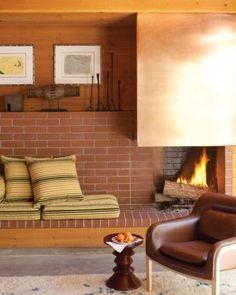Home Tour: A California Beach House – Fireplace tile ideas Modern Fireplace, Brick Fireplace, Fireplace Surrounds, Fireplace Design, Brick Hearth, Fireplace Mantels, Living Room Sofa, Living Spaces, Pollo Tropical
