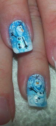 Frozen movie nail art by susan tumblety hand painted