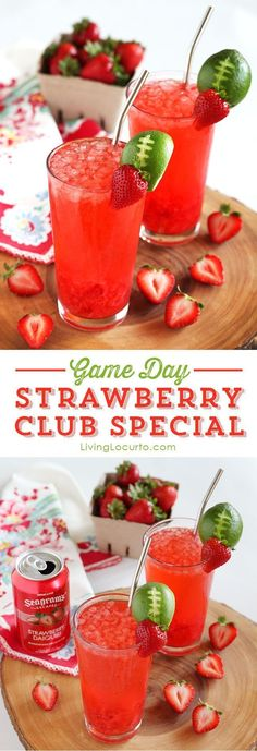 Strawberry Club Special Cocktail is a fresh and fruity drink recipe to serve at your next party. A perfect game day cocktail with a lime football garnish! @Amy Locurto   Living Locurto