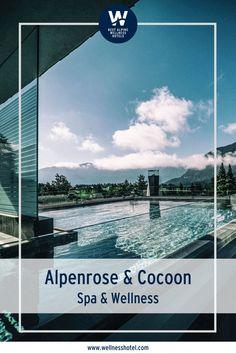 Dein Platz zum Wohlfühlen! In der Wellnessresidenz Alpenrose & Cocoon steht Dir eine 8.500 m² große, edle Bade-, Sauna- und Wohlfühllandschaft mit Blick auf die mächtigen Berge zur Verfügung. Die Cocoon - Alpine Boutique Lodge inspiriert mit einer alpinen Wohnqualität. Design Hotel, Alpine Hotel, Wellness Spa, Sauna, Salzburg, Hotels, Boutique, Movie Posters, Recovery