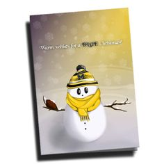 Michigan Wolverines Snowman Christmas Card designed by TSS artist, Bridget Muntzing. Inside of card BLANK for personalized message.