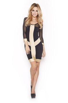Designer stunning black/gold and mesh sleeve dress