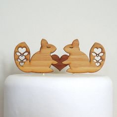 Cute Squirrels Cake Topper  Bamboo  Wedding Cake Topper  by Cabin, $30.00