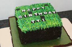 Minecraft cake via edgedesserts.com