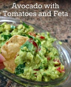 Avodado Tomato and Feta Dip- a twist on regular guacamole. Perfect for upcoming tailgates.