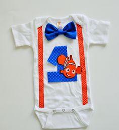 Finding Nemo Birthday onesie,Nemo birthday shirt, nemo cake smash, boy birthday shirt, nemo smash cake,first birthday shirt by RYLOwear on Etsy