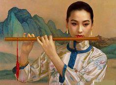 陈逸鸣油画作品:仕女系列-1 - 山水乐 1997年作 作品尺寸:52*71.1cm
