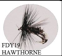 Trout Dry Fly Hawthorne Size 12, 14, 16
