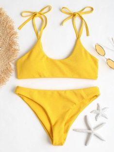 Tie Shoulders Ribbed Bikini Set - Bright Yellow S