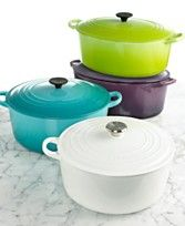 Oh, I love La Creuset, but now, at 58, I'm not sure I could lift it! But I love these colors!