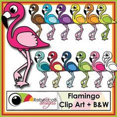 Flamingo Clip Art contains 12 brightly colored Flamingo Clip Art and 1 Black and White Flamingo Clip Art. This set of Flamingo Clip Art is fun and vibrant and is by RebeccaB Designs.  This kit contains: - 12 different colored Flamingo Clip Art in .png format - 1 black and white Flamingo Clip Art in .png format  My graphic designs are produced using Photoshop, at 300dpi and in .jpeg or .png format unless otherwise stated.