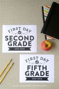Free printable signs, sized 8 x 10 for the first day of school— from pre-school to 12th grade. Design by Elegance and Enchantment for Remodelaholic.