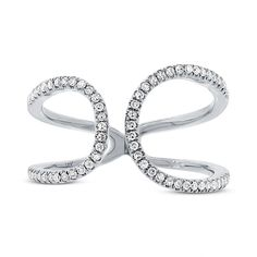 You don't need a reason to shine. Gorgeous Unique Open Statement White Gold Diamond Ring