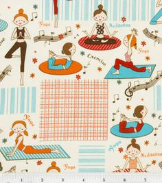 Novelty Quilt Fabric, Girls Play Yoga at Joann's