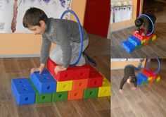 A parcours 2 Gross Motor Activities, Gross Motor Skills, Indoor Activities, Infant Activities, Activities For Kids, Baby Workout, Baby Gym, Gym Games, Exercise For Kids