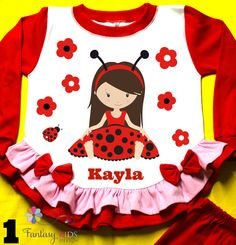 Lady Bug Girl Personalized Pajama made of by FantasyKidsDesigns
