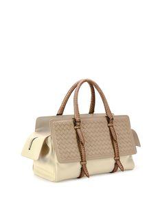Bottega Veneta Monaco Medium Intreccio Top-Handle Bag, Tricolor